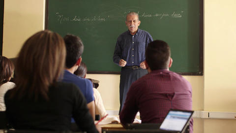 People and Education Professor Talking To Students Stock Video Footage