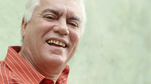 Portrait of Elderly Man with White Hair Smiling Stock Video Footage