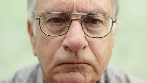 Portrait of Serious Caucasian Old Man Footage