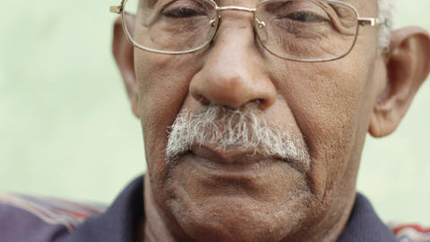 Worried Senior African American Man with Eyeglasse Stock Video Footage