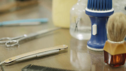 Closeup of Tools and Razor in Barber Shop Stock Video Footage