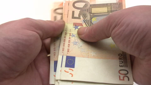 Filling Euro Wage Packet Stock Video Footage