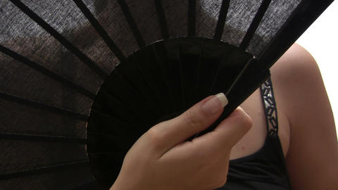 Woman with Fan Stock Video Footage