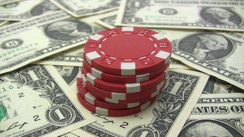 Stacking Red Poker Chips Footage