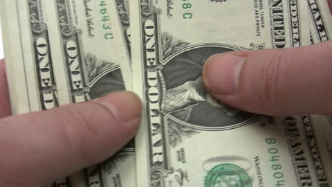Roll of One Dollar Banknotes Stock Video Footage
