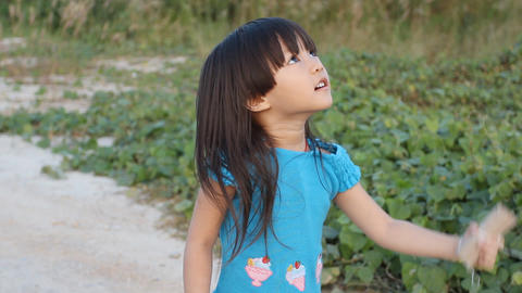 Girl happy with kite Stock Video Footage