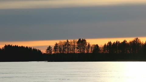 Kitewing skier speedup on sunset lake Stock Video Footage