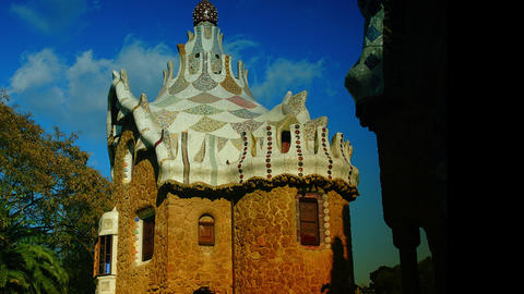 A timelapse shot in Parc Guell,Barcelona, Spain Stock Video Footage