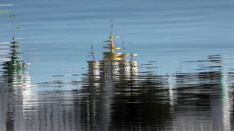 monastery reflected in river water Stock Video Footage