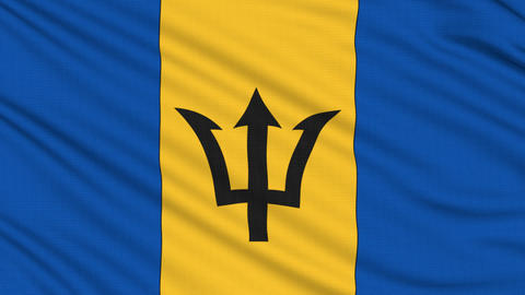 Barbados flag, with real structure of a fabric Animation