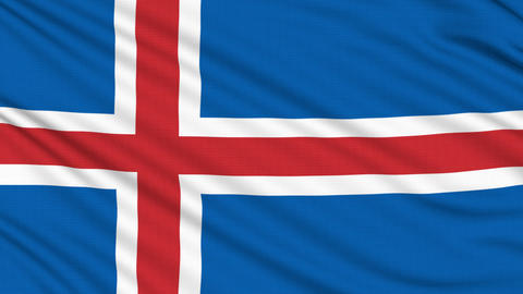 Iceland flag, with real structure of a fabric Animation