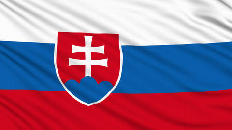 Slovakia flag, with real structure of a fabric Animation