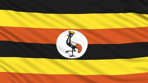 Uganda flag, with real structure of a fabric Animation