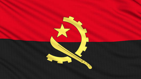 Angola flag, with real structure of a fabric Animation