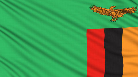 Zambia flag, with real structure of a fabric Animation