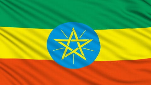 Ethiopian flag, with real structure of a fabric Animation