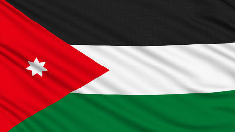 Jordanian flag, with real structure of a fabric Animation