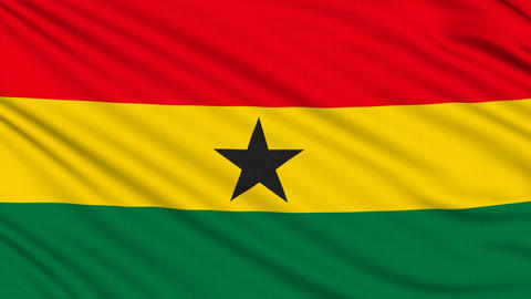 Ghanaian flag, with real structure of a fabric Animation