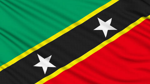 Saint Kitts and Nevis flag , with real structure of a fabric Animation