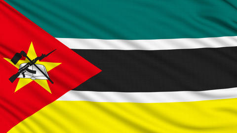 Mozambique Flag, with real structure of a fabric Animation