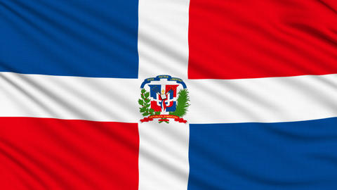 Dominican Republic Flag, with real structure of a fabric Animation