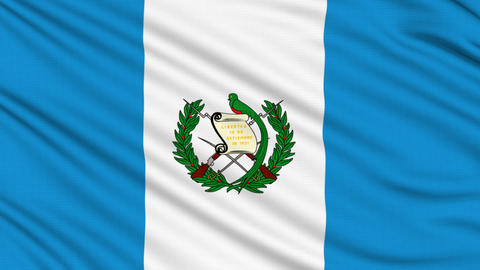 Guatemalan Flag, with real structure of a fabric Animation