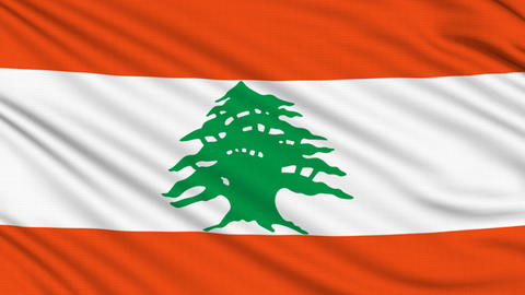 Lebanese Flag, with real structure of a fabric Animation