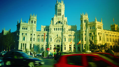 Traffic at Cibeles Square ,Madrid,Spain Footage
