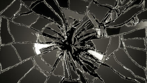 4K Cracked And Shattered Glass With Slow Motion. A stock footage