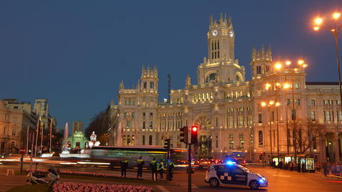 Traffic at Cibeles Square ,Madrid,Spain Stock Video Footage