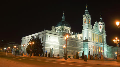 Madrid streets with Cathedral of Almudena, in Madr Stock Video Footage