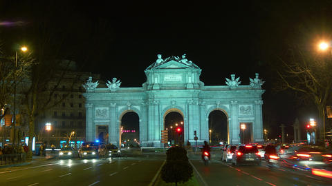 Beautiful view of Arch Puerta de Alcala,time lapse Stock Video Footage