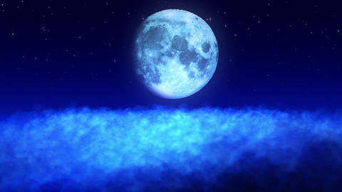 Moon Above the Clouds Loop Stock Video Footage