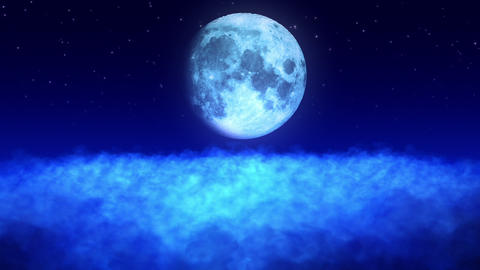 Moon Above the Clouds Loop Animation