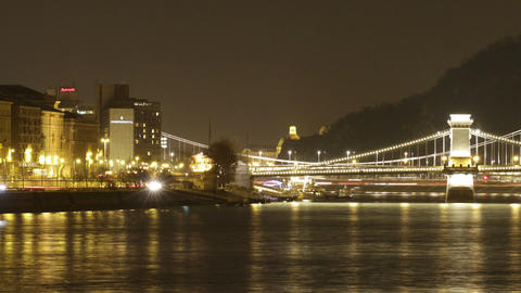 Budapest by Night Timelapse 94 Stock Video Footage