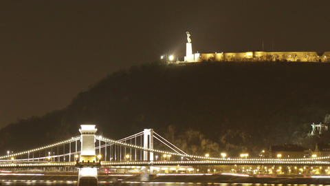Budapest by Night Timelapse 96 pan zoom Stock Video Footage