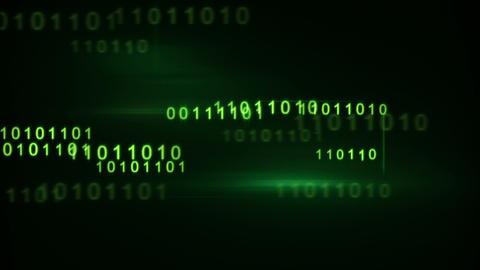 flying green binary digits loop Animation