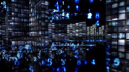 Digital technologies cover all city Stock Video Footage