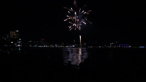 Spectators At Night Beach Watching Fireworks stock footage