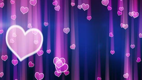pink hearts with light streaks falling loop Animation