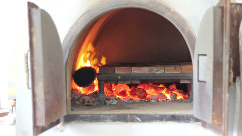 Pizza fire oven Footage