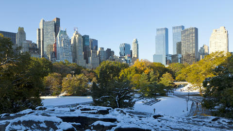 Dawn Skyline of uptown Manhattan and Central Park  Footage