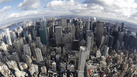 Elevated Day View Of The Manhattan Skyline From Th stock footage