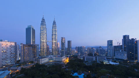 Elevated view of the Petronas Twin Towers, Kuala L Footage