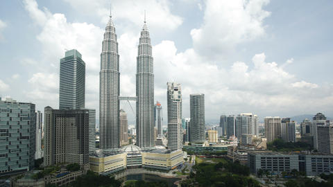 Cloudscape view of the Petronas Twin Towers, Kuala Footage