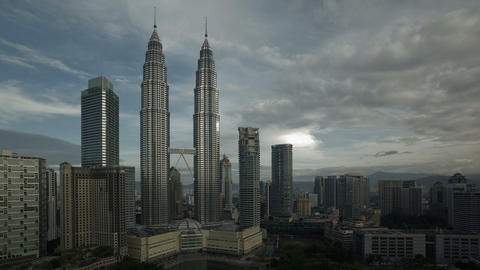 Steel and glass structures of the twin Petronas To Footage