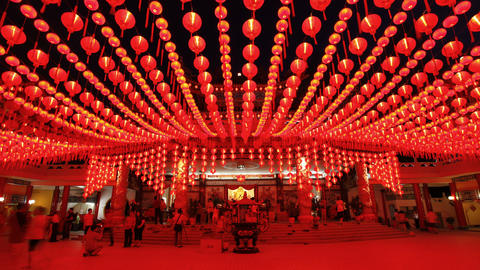 Thean Hou Chinese Temple with illuminated Lanterns Footage