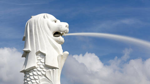 The Merlion Statue, Marina Bay, Singapore, South E Footage