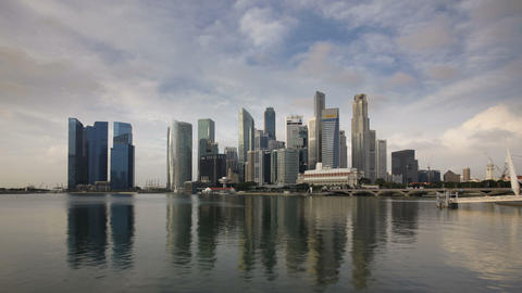 City Skyline, View across Marina Bay to the Financ Footage