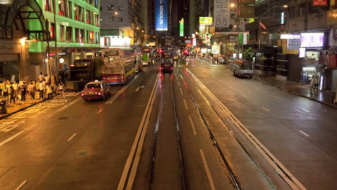 China, Hong Kong, Central, POV Tram on busy city s Footage